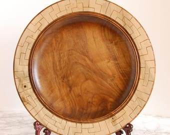 Round Walnut Decorative Tray - Wood Platter - Walnut Serving Tray