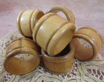 Vintage Wooden Napkin Holders set of 6