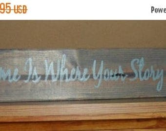 """50% OFF OVERSTOCK SALE Hand Crafted Rustic Primitive """"Home Is Where Your Story Begins"""" Saltbox House Wood Sign Home Decor Wall Hanging"""