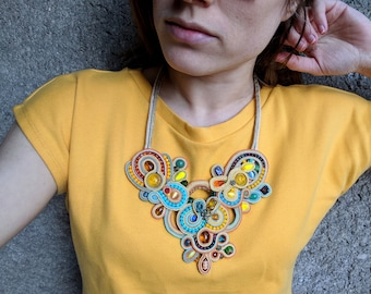Soutache necklace - Soutache jewelry - Colorful necklace - Glamour jewelry - Chunky necklace - Big bold jewelry - Statement necklace