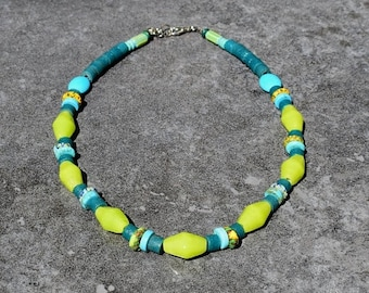 SALE Colorful Necklace, African Jewelry, Statement Necklace, Tribal Necklace, Glass Beads Bohemian Necklace, Lime Green Necklace, Summer Jew