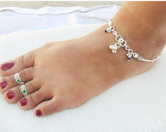Designer Silver Anklet -Blue Beads Anklet - Indian Fusion Anklet - Fashion Jewelry - Gift Anklet - Tribal Silver Anklet - Womens Payal -1003