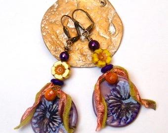 Bohemian - hippie - chic earrings - handmade ceramics, Czech glass