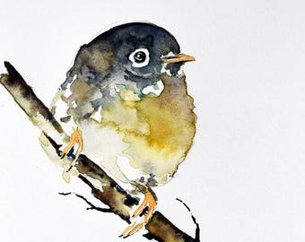 Original Watercolor Bird Painting, Small Cute Baby Bird Watercolor 6x8 inch