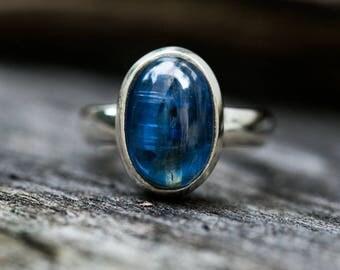 Kyanite Ring Size 6 - Kyanite Cabochon Ring - Kyanite Sterling Silver Ring - Kyanite Ring Size 6 - Blue Kyanite Ring Kyanite Jewelry -Blue