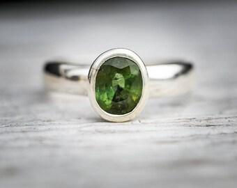 Green Tourmaline Facet Ring 7 - Green Tourmaline Ring - Tourmaline Ring - Green Tourmaline  - Size 7 - Green Tourmaline