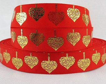 Ribbon heart 25mm grosgrain Ribbon sold by the yard red gold arabesque