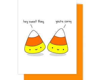 funny halloween card for friend girlfriend boyfriend cute candy corn corny sweet kawaii fun handmade greeting - Halloween Pubs