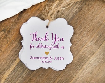 Thank You Gift Tags, 24 Wedding Favor Tags, Personalized Name Tags, Wedding Thank You Tags
