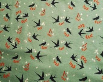 Organic interlock Jersey green grey-green swallows birds swallows mineral birch