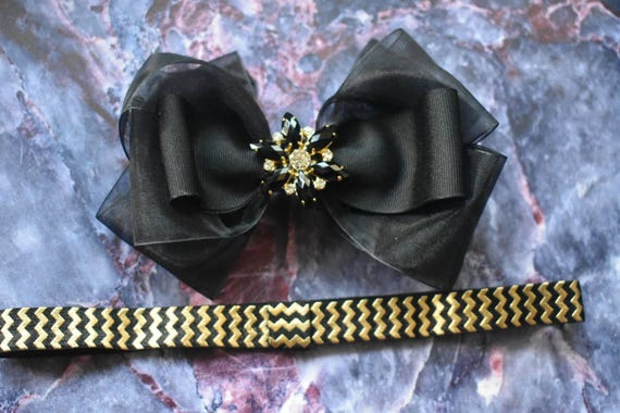 Special occasion black and gold  sheer  bow headband - Baby / Toddler / Girls / Kids Headband / Hairband / Hair bow / Barrette / Hairclip