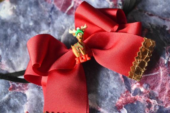 Festive Red Reindeer Bow Headband - Hairclip / Headband / Hairband/ Hair Barrette/ Christmas