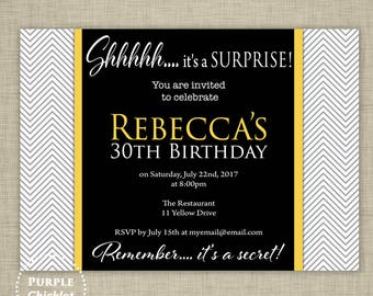 Yellow Surprise Invitation ANY AGE 30th 40th 80th Birthday Invitation Masculine Surprise Celebration Yellow Black Adult Party 356