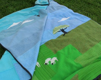 """Felted wool sweater blanket """"Blessed are the Meek"""""""