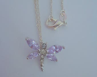 Dragonfly Necklace,Sterling Silver Necklace, Lavender Necklace
