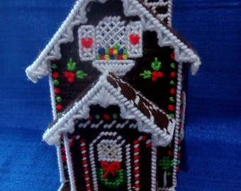Vintage Needlepoint Gingerbread House Tissue Box Cover,Christmas House Tissue Box Cover