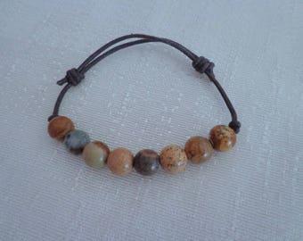 Unisex Hemp Bead Bracelet,Natural Agate Bracelet,Adjustable Bead Bracelet for Men #AG05
