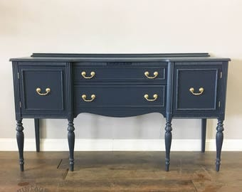AVAILABLE: Navy Lacquer Buffet / Sideboard