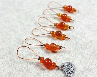 "Stitch markers orange ""pumpkin"", carnelian, semi-precios gemstones, knitting markers for passionate knitters, luxury stitchmarkers"