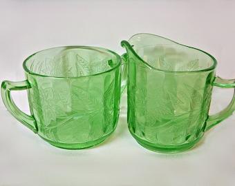 JEANNETTE FLORAL POINSETTIA Uranium Green Glass Cream and Sugar