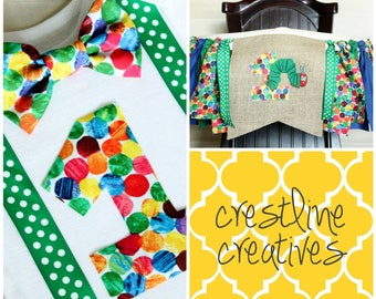 Last Minute Momma Set! Hungry Caterpillar 1st Birthday Bodysuit & Highchair Banner