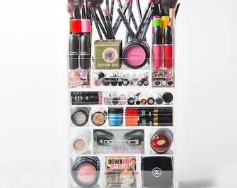 Acrylic Makeup Organizer,  Makeup Organizer, 4 Drawer with Storage Tray, Makeup Brush Holder, Makeup Storage