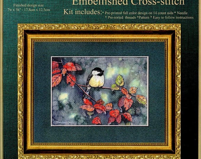 CHICKADEE EMBELLISHED CROSS Stitch kit; autumn leaves, 5 x 7 inches, complete kit