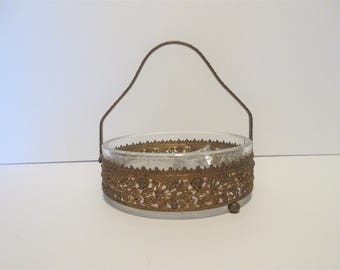 Vintage Brass Filagree Serving Dish Candy Dish Jewelry Dish