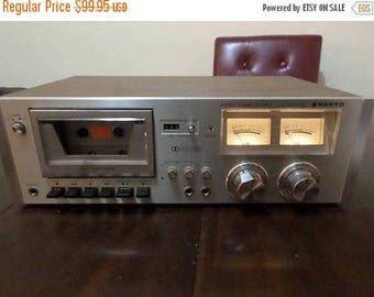 Save 25% Now Vintage 1978 Sanyo RD 5030 Stereo Cassette Deck Dolby NR Silver Wood Case Works Perfect Nice Unit