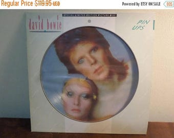 Save 30% Today Vintage 1984 Vinyl LP Record David Bowie Pinups RARE UK Picture Disc Near Mint Condition Limited Edition 15561