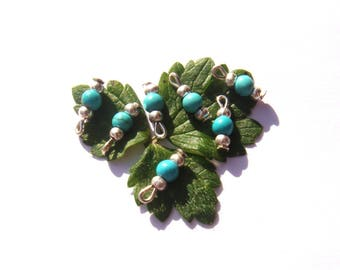 Dyed Howlite: 6 MICRO charms 11 mm tall x 3 mm in diameter + 1 free