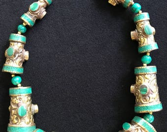 Old Tibetan malachite necklace