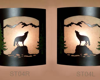Pair of 2 Wall Sconce Rustic Wolf Light, Cabin Decor Lamp, Hand Painted Left & Right Facing