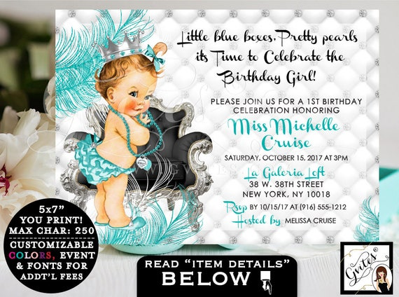"Breakfast at FIRST BIRTHDAY invitation, baby & co. turquoise blue and silver white, princess diamonds pearls, 1st invites. 7x5"" PRINTABLE"