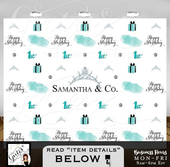 Step and repeat backdrop, baby & co photo 1st bday backdrop blue themed, breakfast at BABY GIRL photo booth back wall sign, PRINTABLE