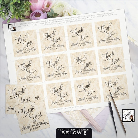"Bridal SHOWER thank you tags, wedding favor tags, custom tags, gift tags, personalized, gift tags. PRINTABLE 2x2"" 12/Per Sheet."