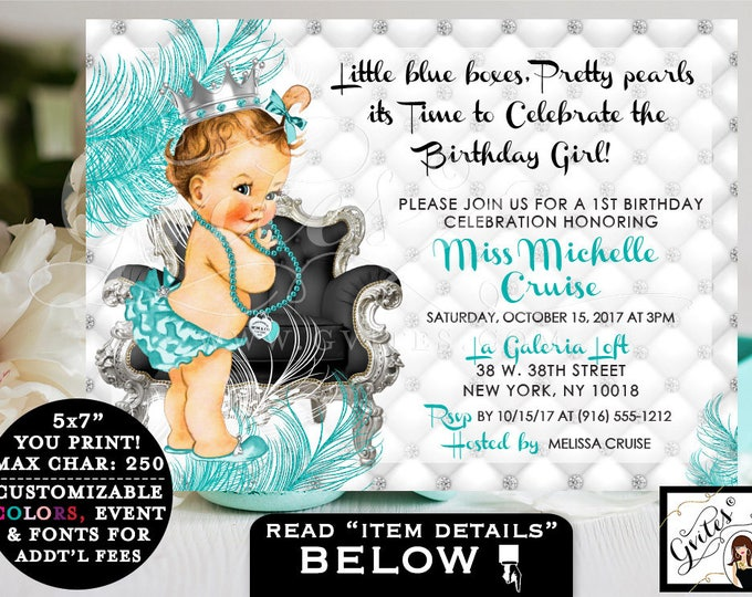 "Breakfast at Tiffany's FIRST BIRTHDAY invitation, baby & co. turquoise blue and silver white, princess diamonds pearls. 7x5"" PRINTABLE"
