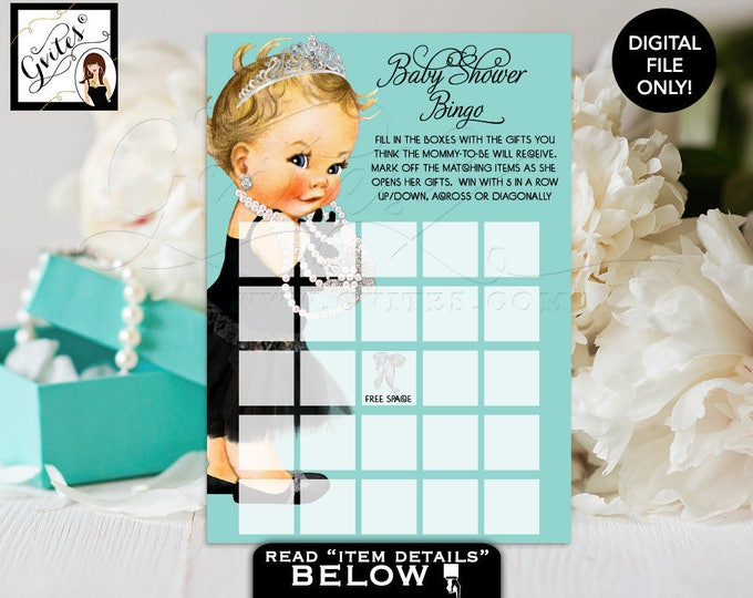 Baby shower bingo, games, blue, princess bingo cards, blue and white, breakfast and co themed, digital. Printable, 5x7.