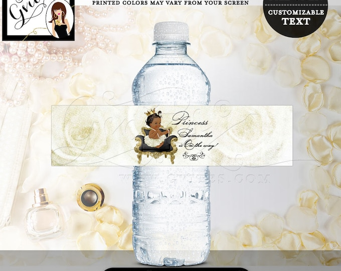 """Water bottle labels baby shower, little princess is on the way, party favors stickers, african american 8x2""""/5 Per Sheet"""