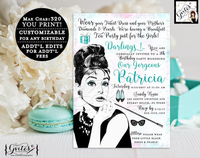 Breakfast at Tiffany's birthday party invitation, Audrey Hepburn, baby girl invitations, 5x7, digital, printable, customizable any bday.