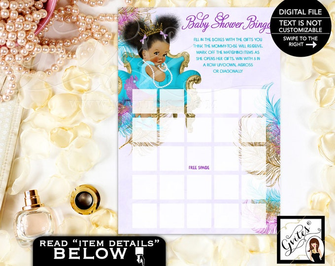 Baby Bingo girl, turquoise purple gold and silver shower bingo, baby shower bingo girl, game cards print. INSTANT DOWNLOAD 5x7 2-Per Sheet