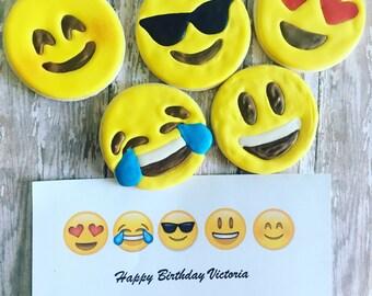 """12 Emoji sugar cookies- 3"""""""