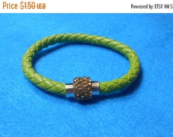 ON SALE CLEARANCE Lime Green Braided Leather Like Austrian Crystal Magnetic Bracelet