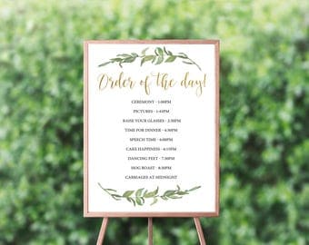 Order of the day Wedding Sign, Printable Wedding Sign, Printable sign, Wedding day timeline, Greenery and gold wedding timeline sign