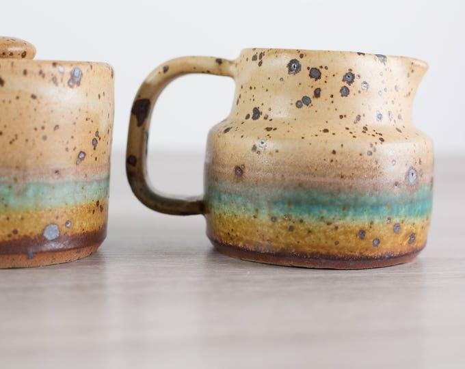 Vintage Sugar and Creamer Set / Ceramic Striped and Speckled Coffee Culture Primitive Flintstones