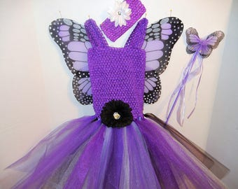 PURPLE MONARCH! Fairy-Princess Costume with Straps, size 3-7!  with Wings, Headband, Magic Wand! Affordable and FUN!