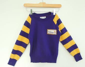 Minnesota Vikings Rare Football Sweater Retro Vintage 1960's Boy's Purple gold Viking's Sweater size 8 Good vintage condition NFL Sportswear