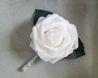 white and silver boutonnieres wedding boutonniere white rose boutonniere elegant boutonniere white - Garden Rose Boutonniere