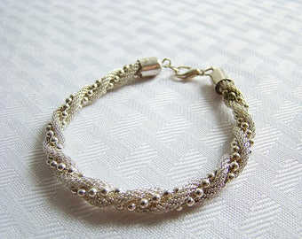 Vintage Silver Tone  Twisted Spiral Rope Chain Bracelet