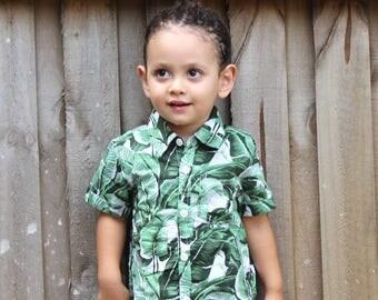Baby boy tropical shirt, Toddler shirt, tropical summer shirt, kids shirt, dress shirt,